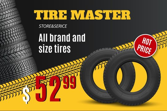 Car tire shop or auto wheel tyre store sale offer