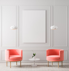 Mock up poster frame in classic style interior. Minimalist classic room with armchair. 3D illustration.