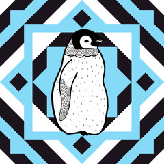 Geometric seamless pattern with bird penguit. Vector art.