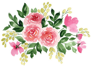 Hand painted floral arrangement with tea rose. Loose watercolor flowers