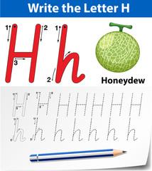 Letter H tracing alphabet worksheets