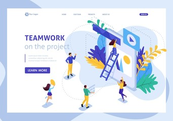 Isometric Landing Page Teamwork