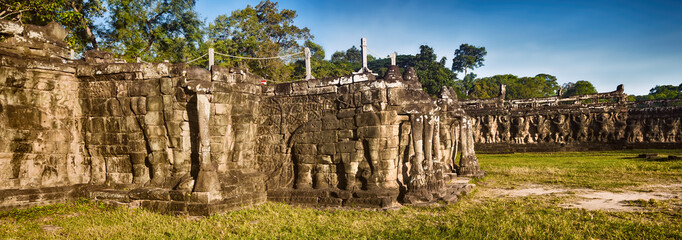 Bas-relief at Terrace of the Elephants . Siem Reap. Cambodia. Panorama