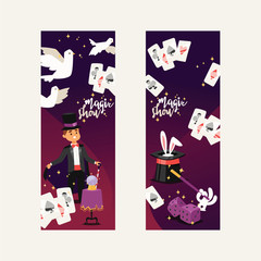 Magician vector illusionist show magic man illusion or magical illusionism on backdrop and cartoon character person in hat show performance with bunny dices dove background set illustration