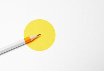 Yellow pencil on white background, minimalism. Creativity, idea, solution, creativity concept.