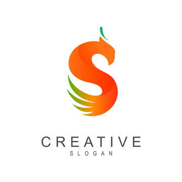eagle letter s logo, phoenix letter s logo template