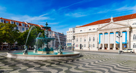 Rossio Square, Lisbon by morning light