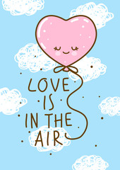 Love concept with heart air balloon on sky background