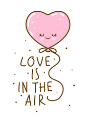 Love concept with heart air balloon