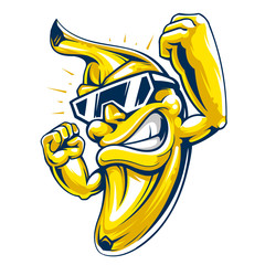 Cool muscular banana character in sunglasses
