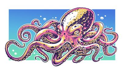 Octopus Graffiti Vector Art