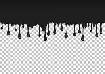 Black dripping slime seamless pattern. Petroleum background with copy space. Kids sensory toy vector illustration. Realistic liquid mucus isolated element. Flowing black fluid. Paint drops and blots.