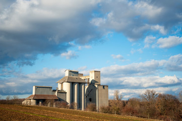 Storage buildings on farmland
