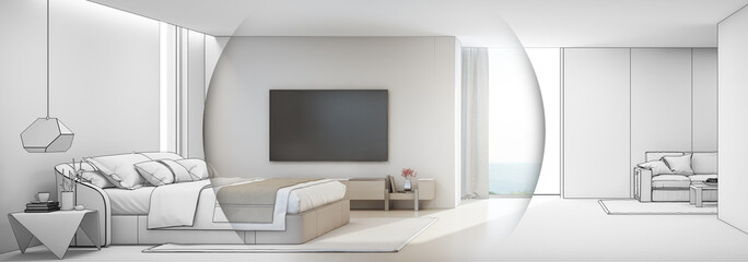 Wall Mural - Sea view bedroom and living room of luxury summer beach house with double bed near wooden cabinet. TV on white wall in vacation home or holiday villa. Hotel interior 3d illustration.