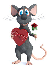 3D rendering of a cartoon mouse being romantic.