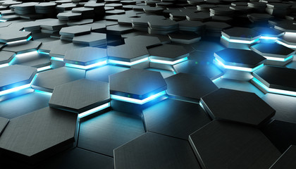 Black and blue hexagons background pattern 3D rendering