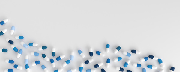many blue pills poured in the shape of a wave on a white background, 3d illustration