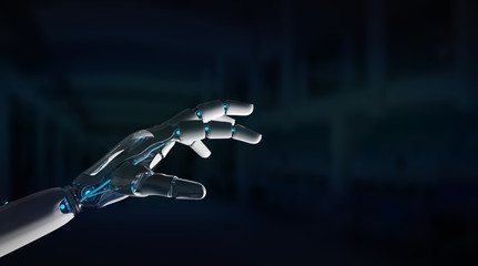Intelligent robot machine pointing finger 3D rendering
