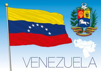 Venezuela flag with seven stars, South America, vector illustration