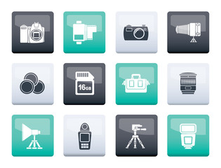 Photography equipment and tools icons over color background - vector icon set