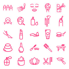 beauty, make up and spa. minimal thin line web icon set. simple vector illustration outline. concept for infographic, website or app.