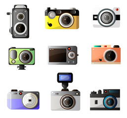 Vintage and Modern Digital Photo Cameras Optical Equipment Set Vector Illustration