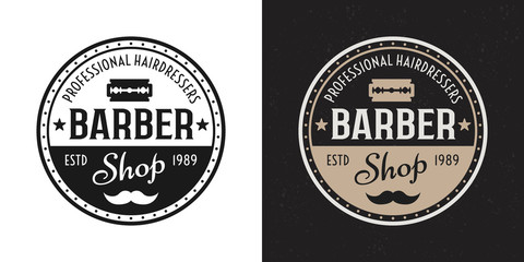 Barbershop vector two style black, colored badge