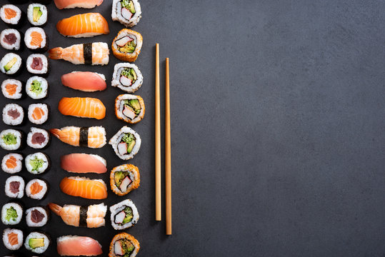 Sushi rolls and nigiri background