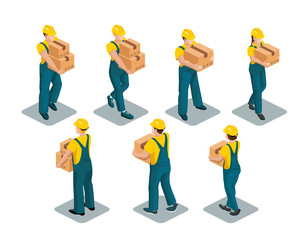 Warehouse workers wearing yellow T-shirts, coveralls and safety helmets hold boxes in their hands. Isometric image. Vector set isolated on white background