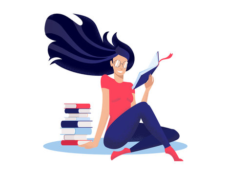 Young woman reads book, sitting on floor cross-legged next to stack of books. Round glasses on face, long dark hair fluttering. Modern flat illustration with textures in cartoon style on white