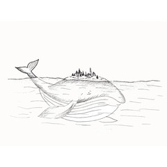 Whale sketch, sketch of a fairy whale in the sea, whale drawing with a fictional city on the back, cartoon whale, black and white hand-drawn illustration isolated on white background