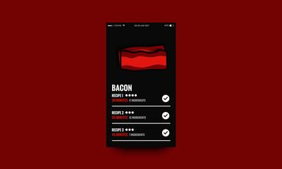 Bacon Recipe App Interface Design