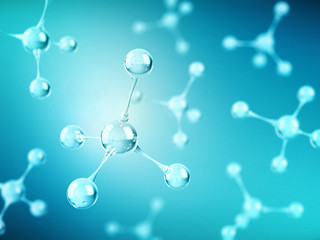 Molecule or atom structure on blue background. Science, medical, chemistry and biotechnology concept. 3d rendering
