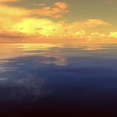 3d rendering of golden clouds over ocean