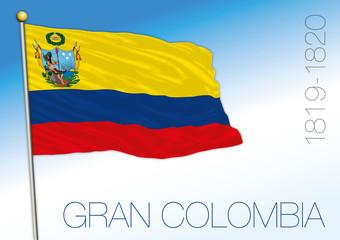 Gran Colombia historical flag, 1819 - 1820, vector illustration