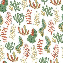 Hand Drawn Seamless Seaweed Underwater Background. Vector Illustration.