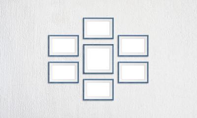 Frames collage, seven grey blue realistic wooden frameworks on white plastered background