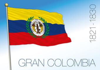 Gran Colombia historical flag, 1821 - 1830, vector illustration