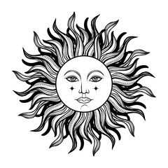 Vector illlustration of sun - astronomy and astrology symbol. Vintage, boho or gypsy style. Astrology and alchemy vibes.