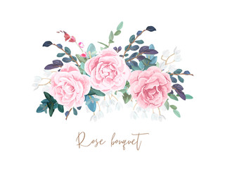 Decorative horizontal garland composition of pale roses, white spring flowers, eucalyptus and succulents. Light floral bouquet for wedding invitations and romantic cards. Hand drawn vector