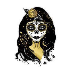 Boho tattoo styled print with woman as sugar skull Calavera Catrina. Mexican carnival Dia de los muertos (Day of the dead) concept with girl.