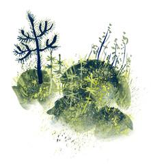 Forest miniatures. Gouache illustration