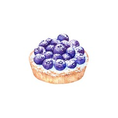 Delicious hand drawn tart with blueberries. Watercolor realistic illustration on white background. Sweet dessert.