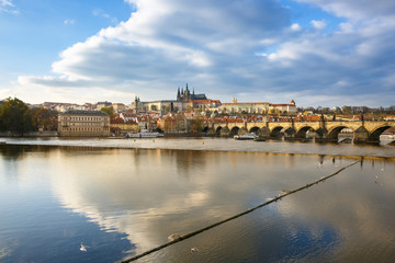 Prague with Charles Bridge and the Hradcany castle
