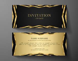 Luxurious VIP Invitation template with gold, black background and decorative golden Art Deco modern elements. Premium class design for Gift certificate, Voucher, Gift card