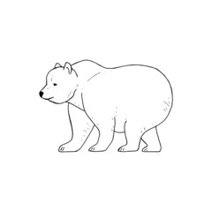 Bear coloring page, cute childish coloring of a big bear, vector sketch of a bear, black and white vector illustration isolated on white background for your design