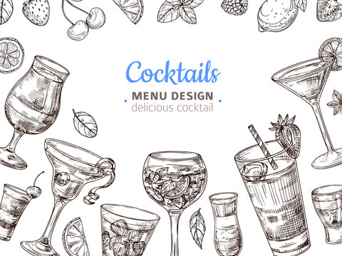 Hand drawn cocktail background. Engraving cocktails alcoholic drinks vintage vector illustration. Illustration of alcohol cocktail menu