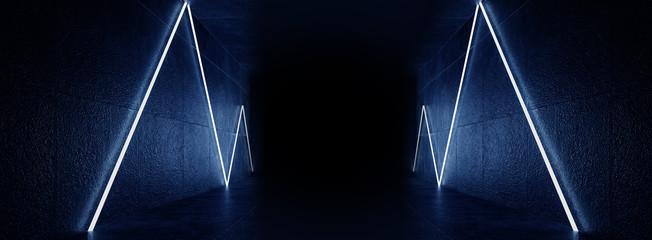 Dark room, corridor, tunnel with illumination on an empty concrete wall, neon light, rays, laser, open door, reflection of neon on a wet floor, night city, night view. 3D rendering. Fototapete