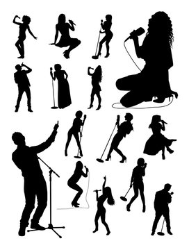 Singer gesture silhouettes. Good use for symbol, logo, web icon, mascot, sign, or any design you want.