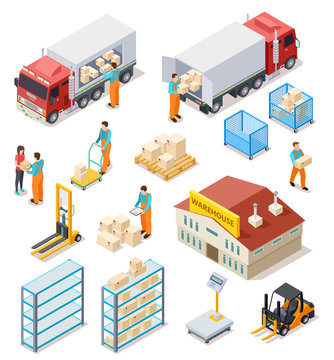 Delivery isometric. Logistic, distribution warehouse, truck with people workers carrying boxes package. 3d cargo industry vector set. Illustration of truck logistic transport, industrial delivery
